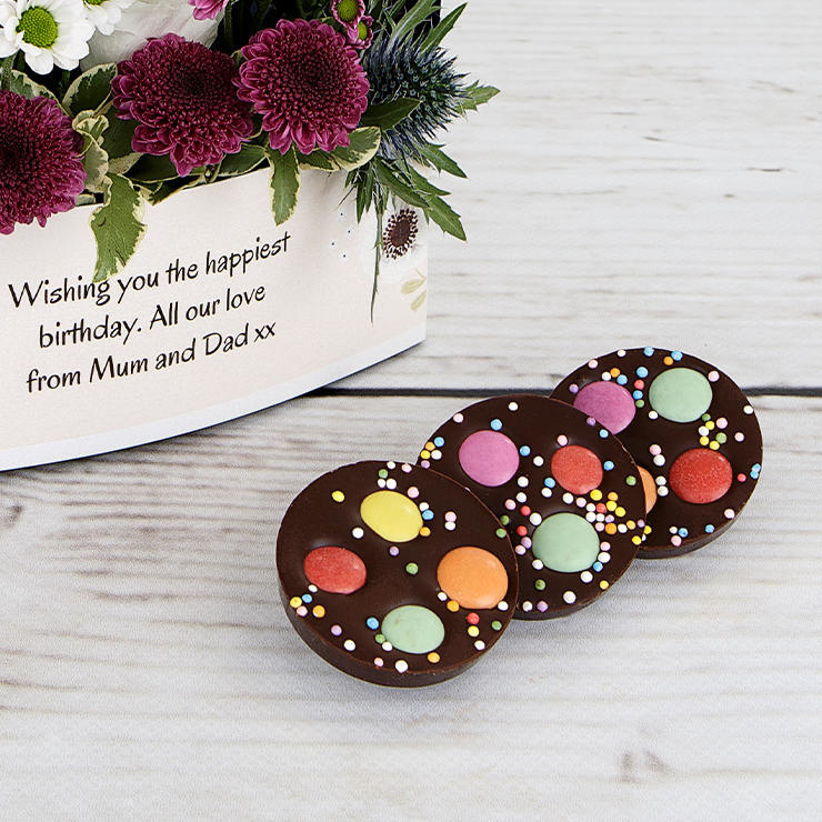 Dark chocolate spotty discs