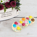 White chocolate spotty discs