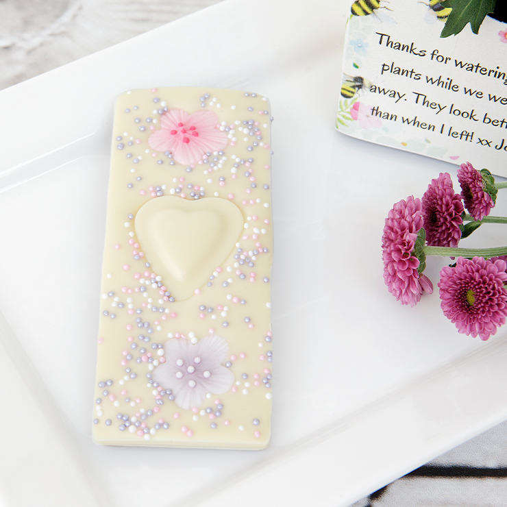 White chocolate heart bar