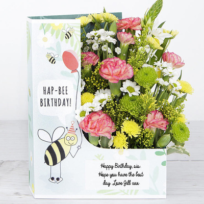 Hap-Bee-Birthday! - Flower Cards